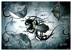 http://thinkspacegallery.com/2010/01/show/Kelly-McKernan---Remora-(and-her-Ornate-Eagle-Rays).jpg