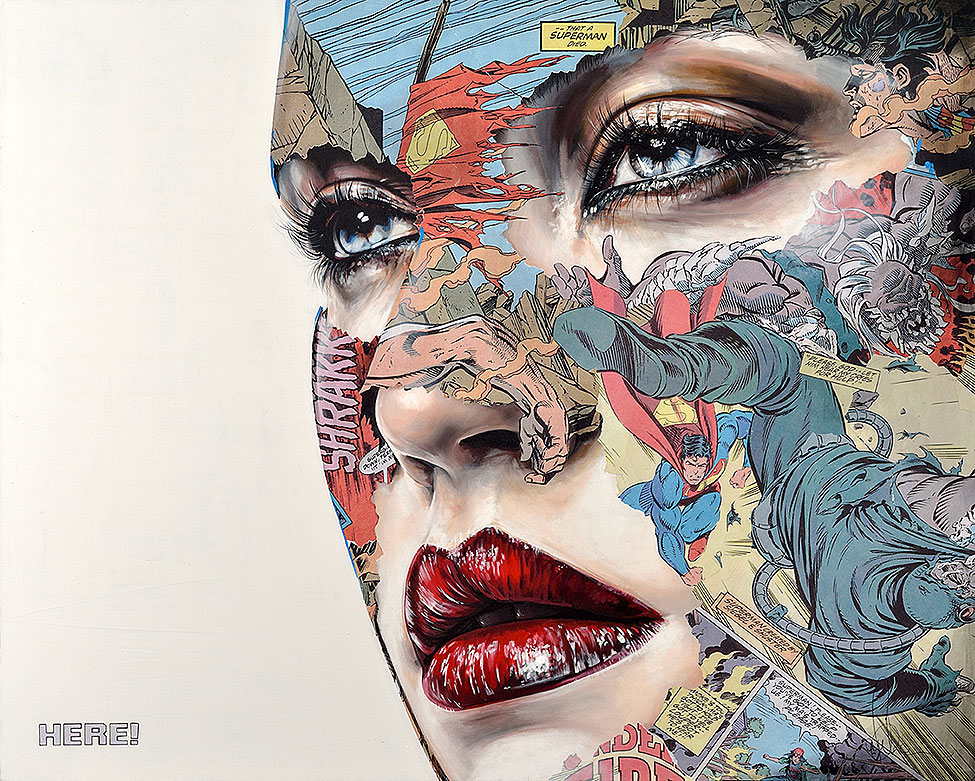 Images: Paintings That Blend Female Portraits With Comic Book Superheroes From Sandra Chevrier